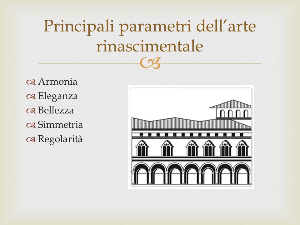 Armonia Eleganza Bellezza Simmetria Regolarità Principali parametri dellarte rinascimentale