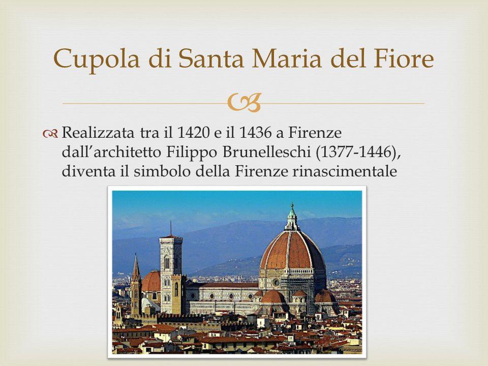 Realizzata tra il 1420 e il 1436 a Firenze dallarchitetto Filippo Brunelleschi (1377-1446), diventa il simbolo della Firenze rinascimentale Cupola di