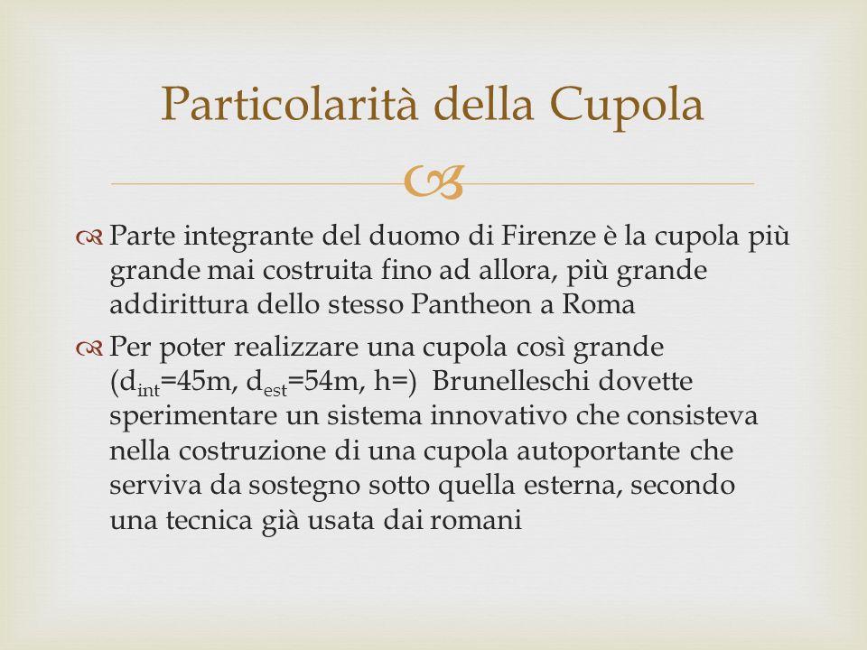 Parte integrante del duomo di Firenze è la cupola più grande mai costruita fino ad allora, più grande addirittura dello stesso Pantheon a Roma Per pot