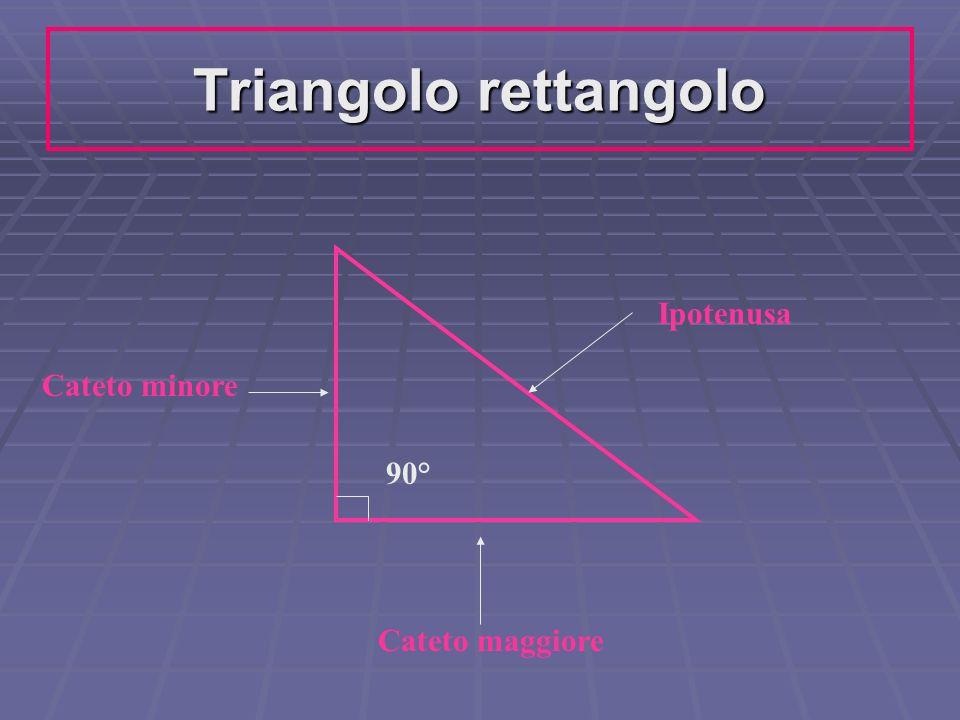 Triangolo rettangolo Ipotenusa Cateto maggiore Cateto minore 90°