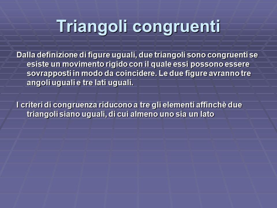 Triangoli congruenti Dalla definizione di figure uguali, due triangoli sono congruenti se esiste un movimento rigido con il quale essi possono essere