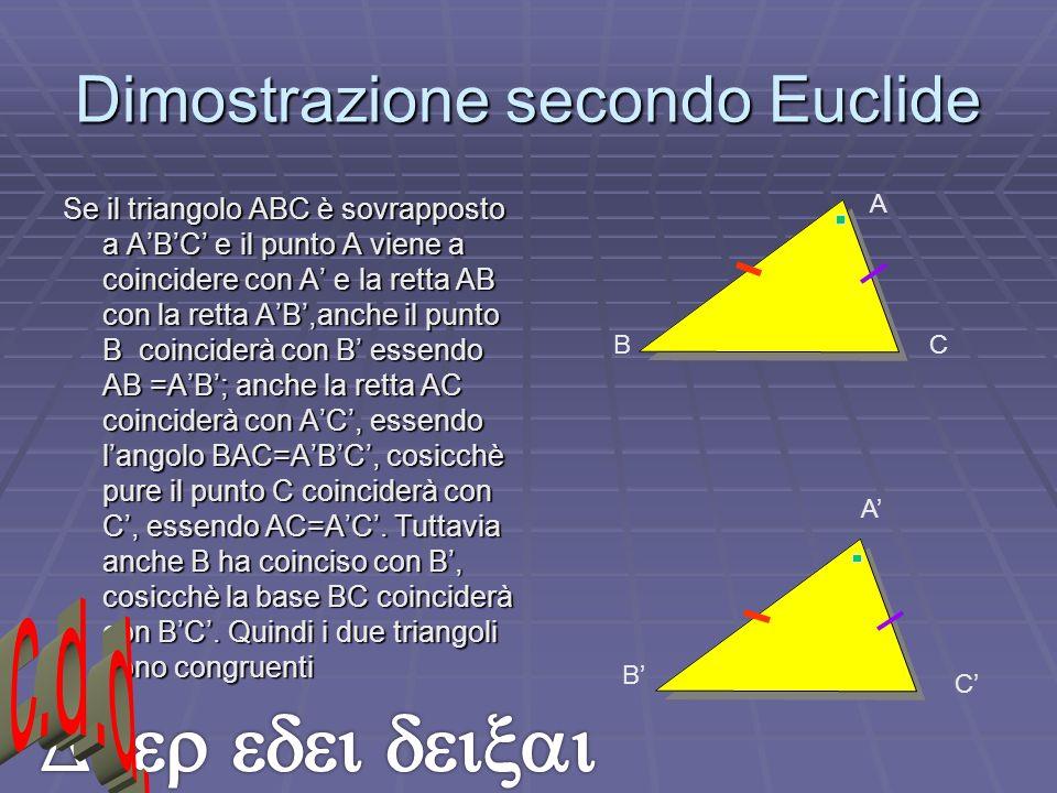 Dimostrazione secondo Euclide Se il triangolo ABC è sovrapposto a ABC e il punto A viene a coincidere con A e la retta AB con la retta AB,anche il pun