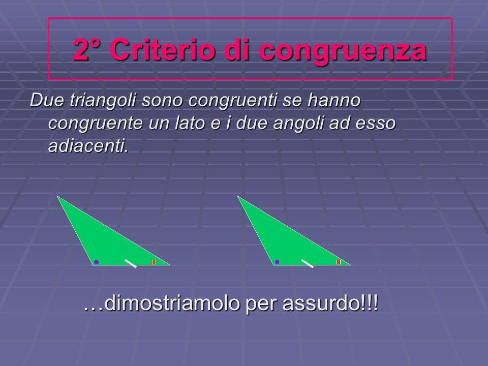 2° Criterio di congruenza Due triangoli sono congruenti se hanno congruente un lato e i due angoli ad esso adiacenti. …dimostriamolo per assurdo!!!