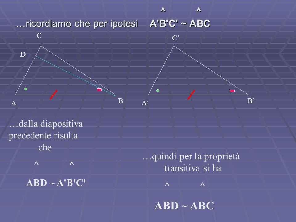 ^ ^ …ricordiamo che per ipotesi A'B'C' ~ ABC C A B C A B …dalla diapositiva precedente risulta che ^ ^ ABD ~ A'B'C' …quindi per la proprietà transitiv
