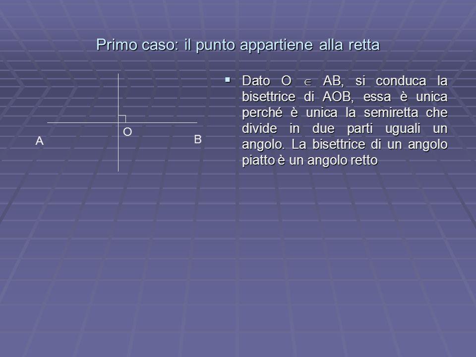 Primo caso: il punto appartiene alla retta Dato O AB, si conduca la bisettrice di AOB, essa è unica perché è unica la semiretta che divide in due part