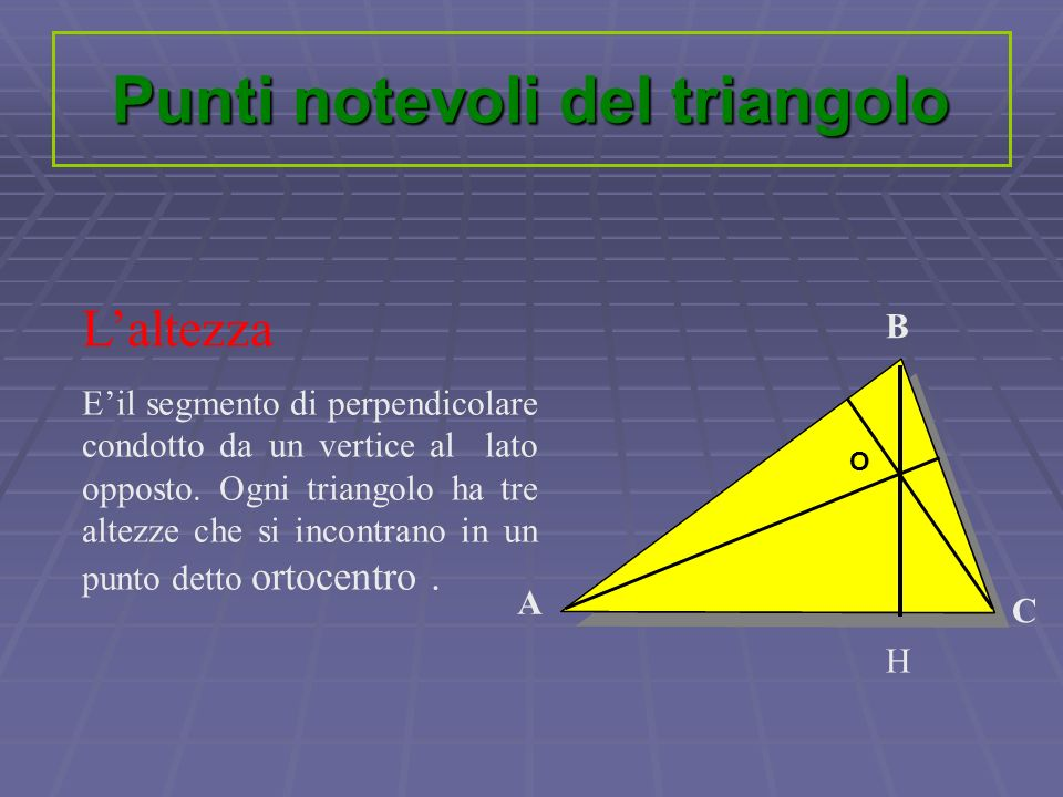 Punti notevoli del triangolo Laltezza Eil segmento di perpendicolare condotto da un vertice al lato opposto. Ogni triangolo ha tre altezze che si inco