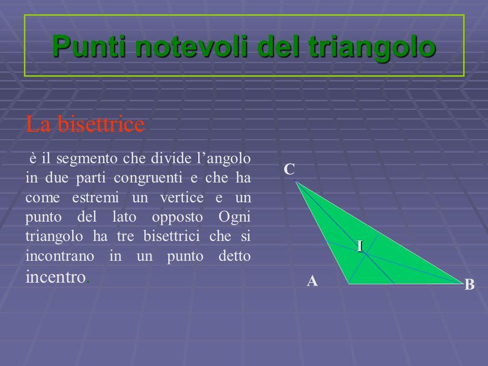 La bisettrice è il segmento che divide langolo in due parti congruenti e che ha come estremi un vertice e un punto del lato opposto Ogni triangolo ha