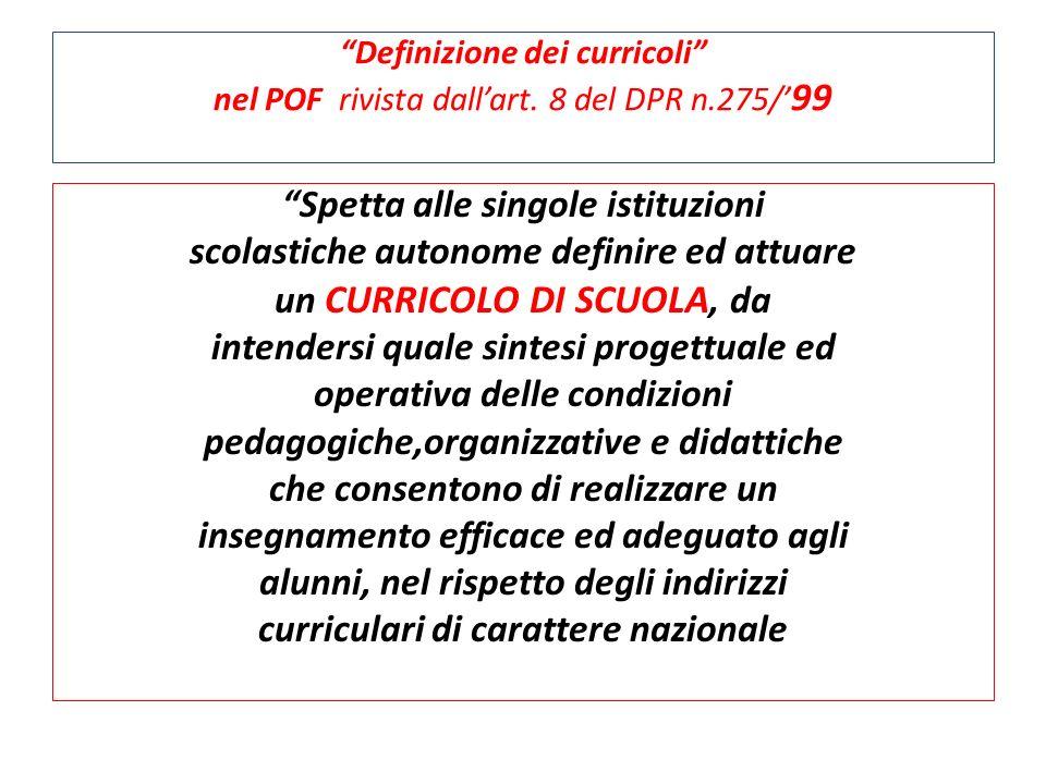 Definizione dei curricoli nel POF rivista dallart. 8 del DPR n.275/ 99 Spetta alle singole istituzioni scolastiche autonome definire ed attuare un CUR