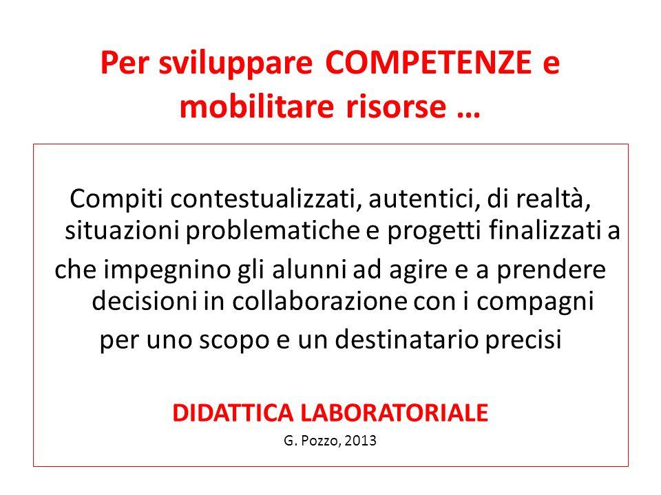 Per sviluppare COMPETENZE e mobilitare risorse … Compiti contestualizzati, autentici, di realtà, situazioni problematiche e progetti finalizzati a che