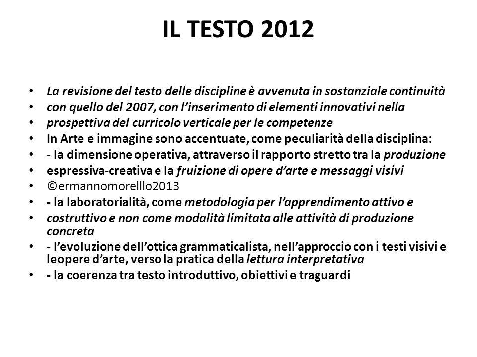 IL TESTO 2012 La revisione del testo delle discipline è avvenuta in sostanziale continuità con quello del 2007, con linserimento di elementi innovativ