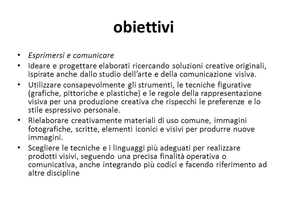 obiettivi Esprimersi e comunicare Ideare e progettare elaborati ricercando soluzioni creative originali, ispirate anche dallo studio dellarte e della