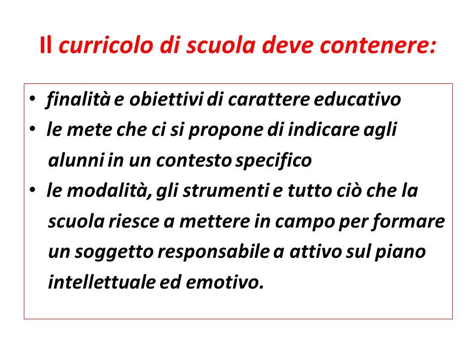Il curricolo di scuola deve contenere: finalità e obiettivi di carattere educativo le mete che ci si propone di indicare agli alunni in un contesto sp
