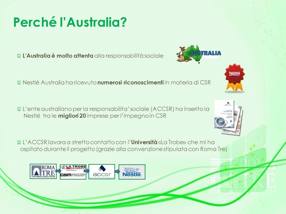 Perché lAustralia? LAustralia è molto attenta alla responsabilità sociale Nestlé Australia ha ricevuto numerosi riconoscimenti in materia di CSR Lente