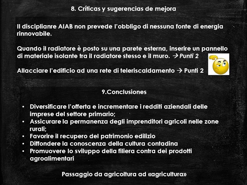 8. Críticas y sugerencias de mejora Il disciplianre AIAB non prevede lobbligo di nessuna fonte di energia rinnovabile. Quando il radiatore è posto su