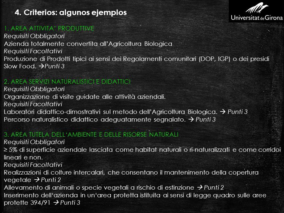 4. Criterios: algunos ejemplos 1. AREA ATTIVITA PRODUTTIVE Requisiti Obbligatori Azienda totalmente convertita allAgricoltura Biologica Requisiti Faco
