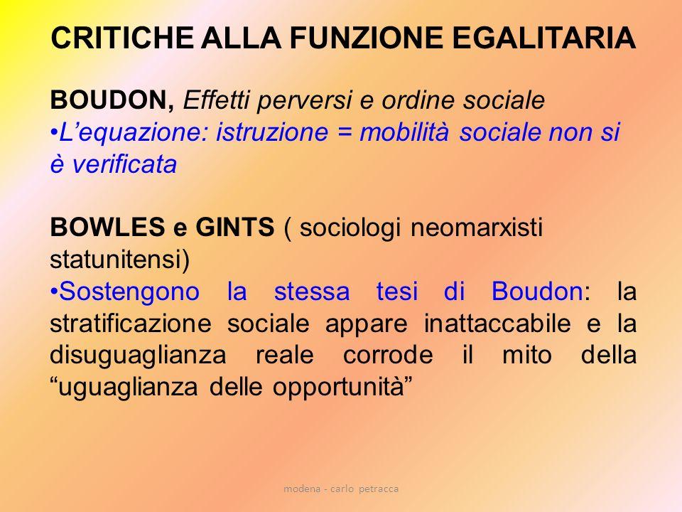 modena - carlo petracca CRITICHE ALLA FUNZIONE EGALITARIA BOUDON, Effetti perversi e ordine sociale Lequazione: istruzione = mobilità sociale non si è