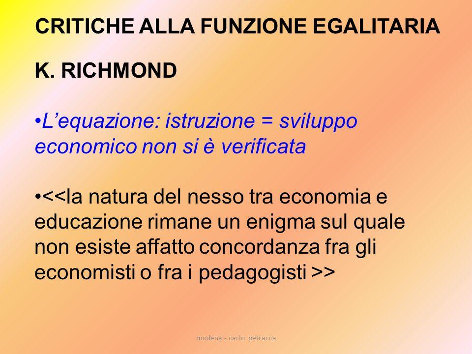 modena - carlo petracca CRITICHE ALLA FUNZIONE EGALITARIA K. RICHMOND Lequazione: istruzione = sviluppo economico non si è verificata >