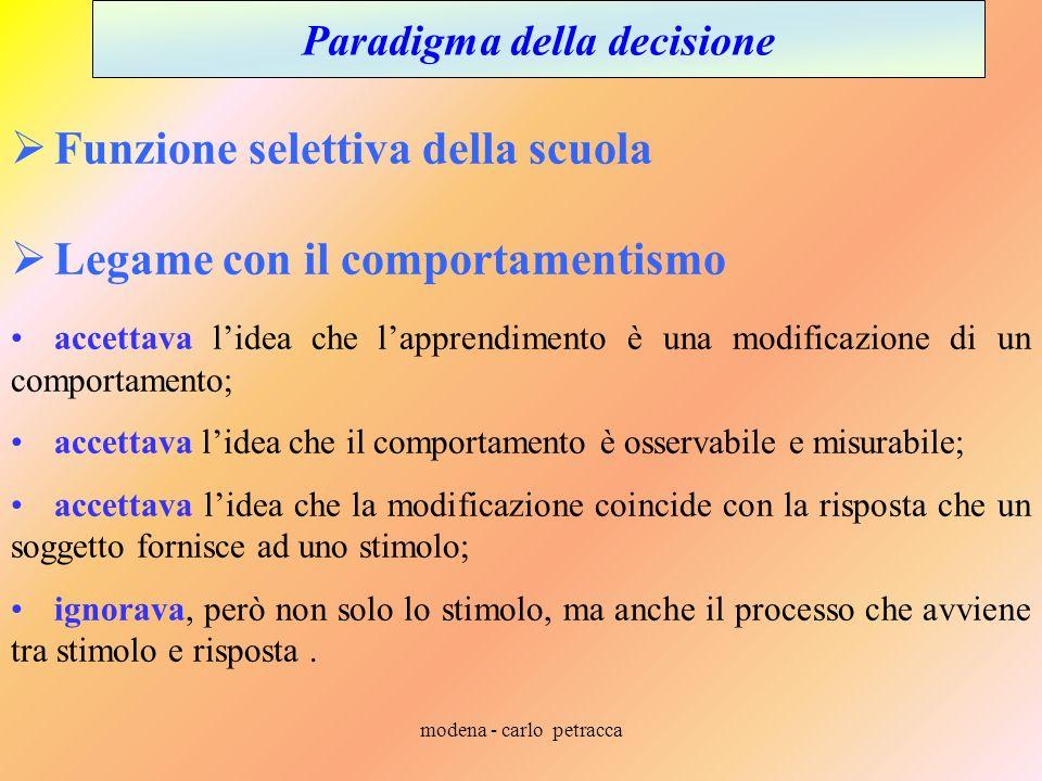 modena - carlo petracca Paradigma della decisione Funzione selettiva della scuola Legame con il comportamentismo accettava lidea che lapprendimento è