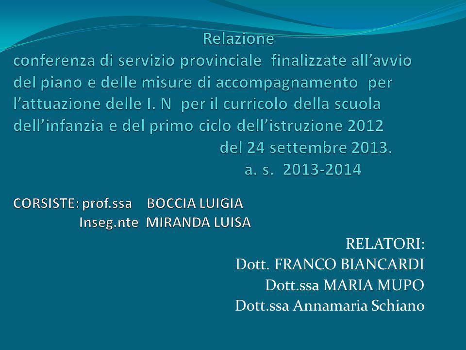 RELATORI: Dott. FRANCO BIANCARDI Dott.ssa MARIA MUPO Dott.ssa Annamaria Schiano