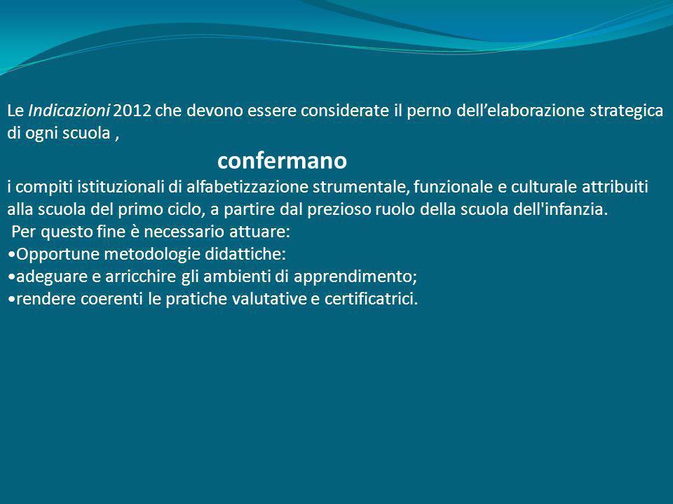 Le Indicazioni 2012 che devono essere considerate il perno dellelaborazione strategica di ogni scuola, confermano i compiti istituzionali di alfabetiz