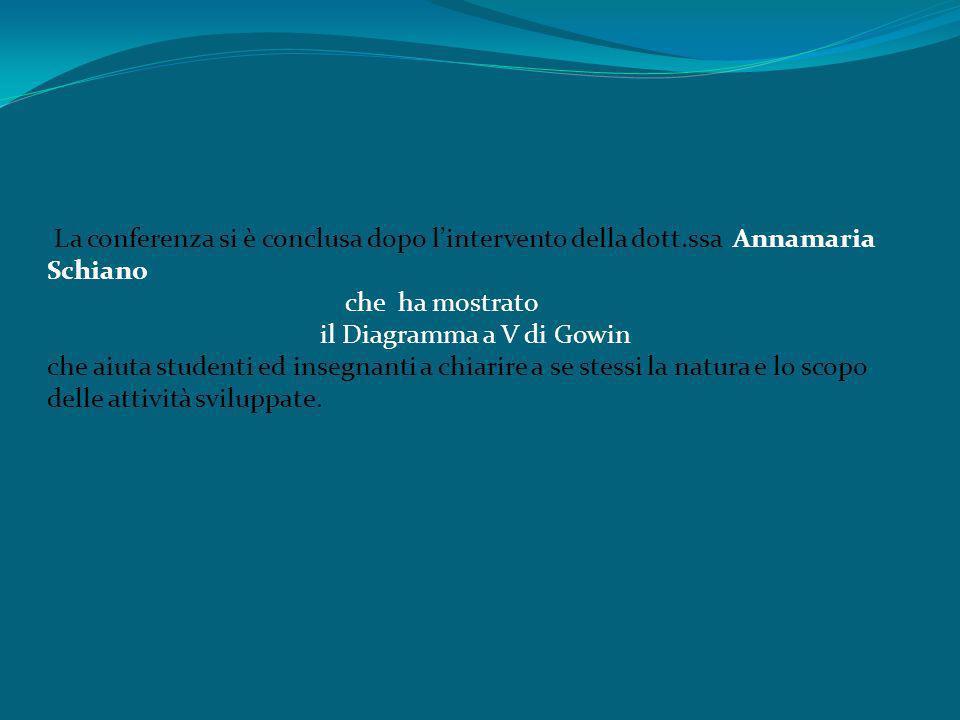 La conferenza si è conclusa dopo lintervento della dott.ssa Annamaria Schiano che ha mostrato il Diagramma a V di Gowin che aiuta studenti ed insegnan