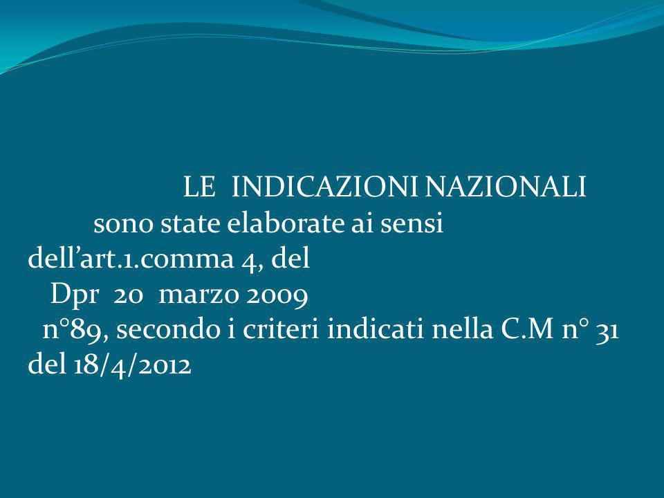 LE INDICAZIONI NAZIONALI sono state elaborate ai sensi dellart.1.comma 4, del Dpr 20 marzo 2009 n°89, secondo i criteri indicati nella C.M n° 31 del 1
