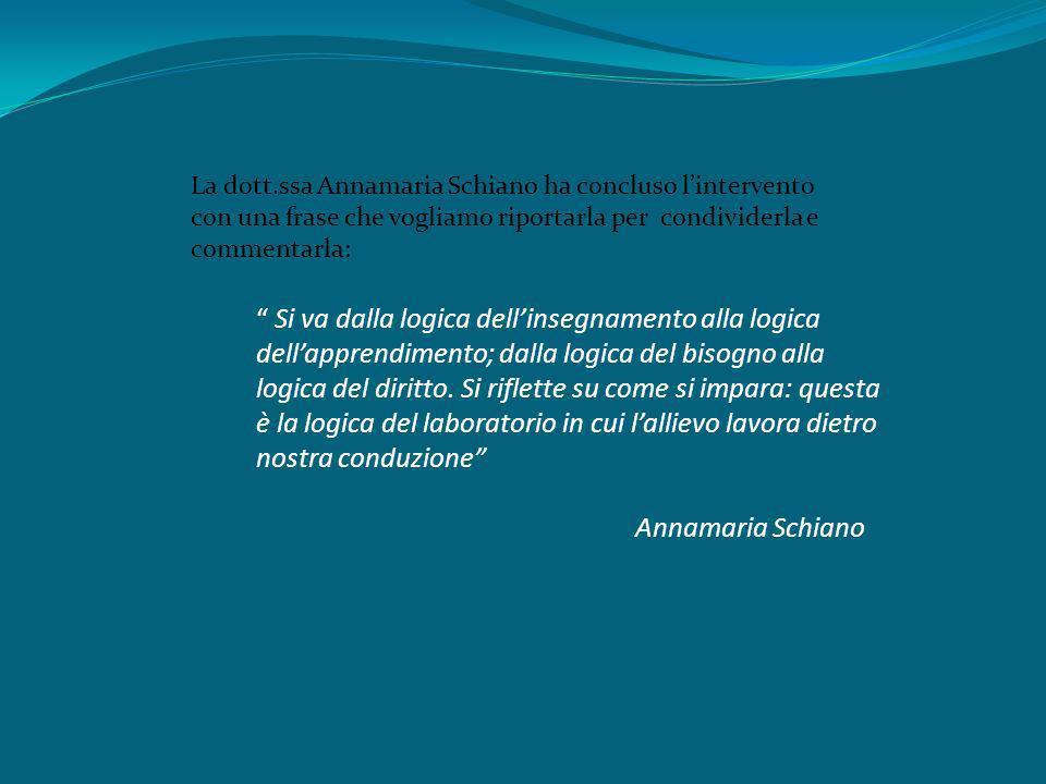 La dott.ssa Annamaria Schiano ha concluso lintervento con una frase che vogliamo riportarla per condividerla e commentarla: Si va dalla logica dellins