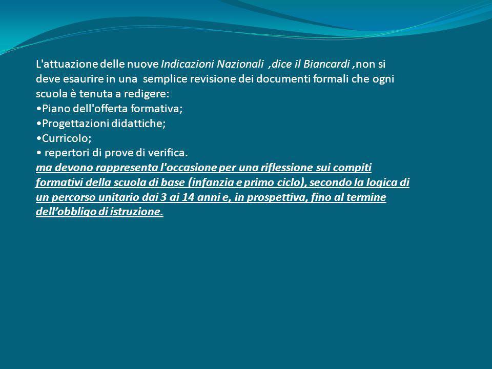 L'attuazione delle nuove Indicazioni Nazionali,dice il Biancardi,non si deve esaurire in una semplice revisione dei documenti formali che ogni scuola