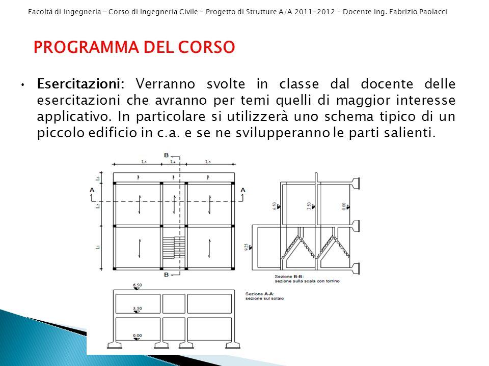 Facoltà di Ingegneria - Corso di Ingegneria Civile – Progetto di Strutture A/A 2011-2012 – Docente Ing. Fabrizio Paolacci PROGRAMMA DEL CORSO Esercita