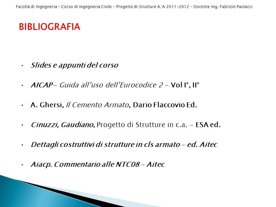 Facoltà di Ingegneria - Corso di Ingegneria Civile – Progetto di Strutture A/A 2011-2012 – Docente Ing. Fabrizio Paolacci BIBLIOGRAFIA Slides e appunt