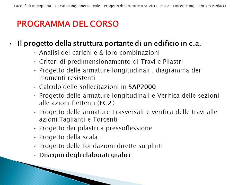 Facoltà di Ingegneria - Corso di Ingegneria Civile – Progetto di Strutture A/A 2011-2012 – Docente Ing. Fabrizio Paolacci PROGRAMMA DEL CORSO Il proge