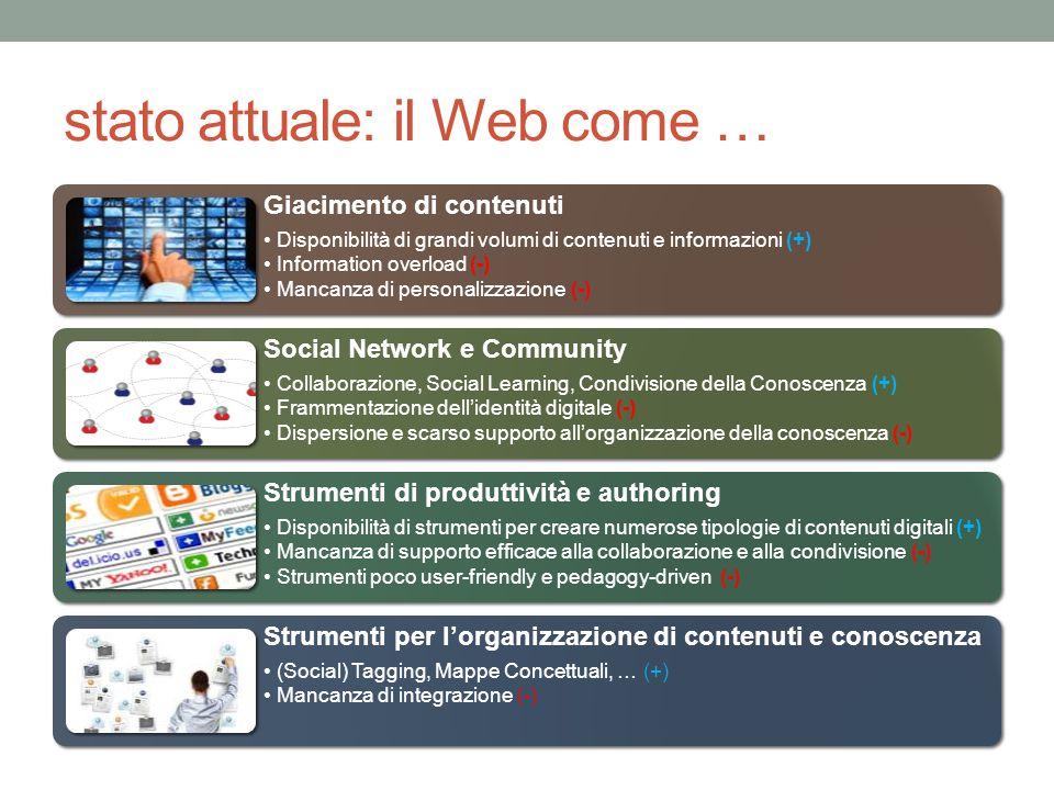 stato attuale: il Web come … Giacimento di contenuti Disponibilità di grandi volumi di contenuti e informazioni (+) Information overload (-) Mancanza