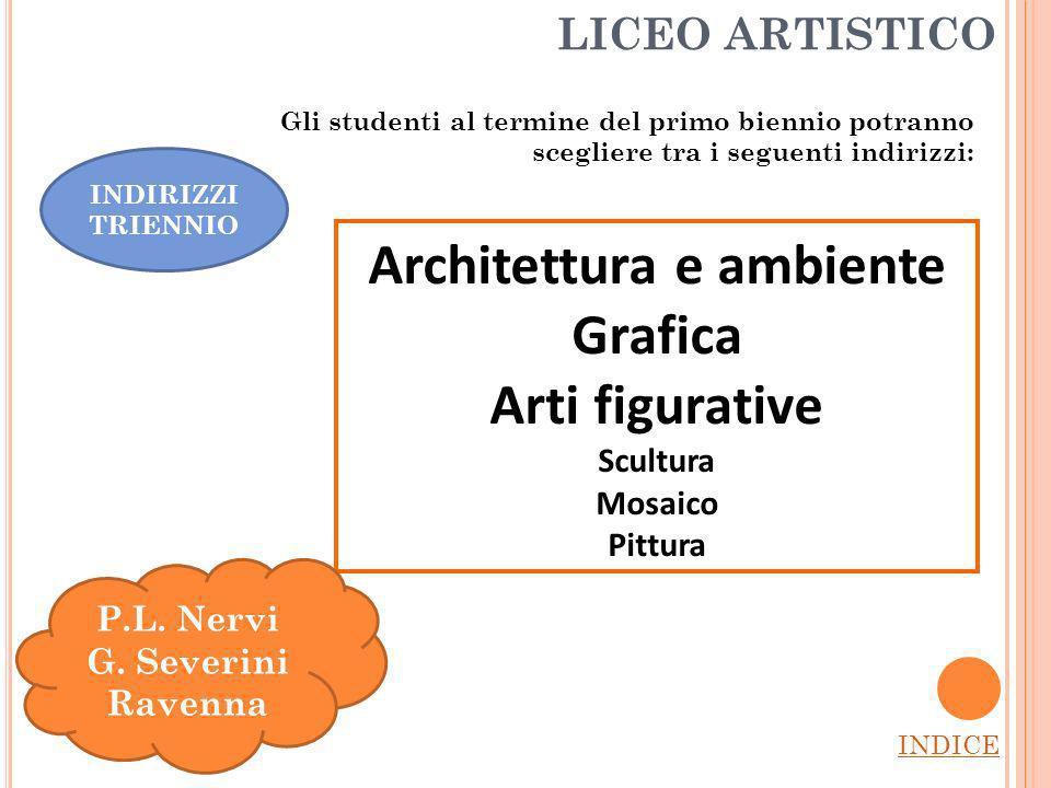 LICEO ARTISTICO INDICE Architettura e ambiente Grafica Arti figurative Scultura Mosaico Pittura P.L.