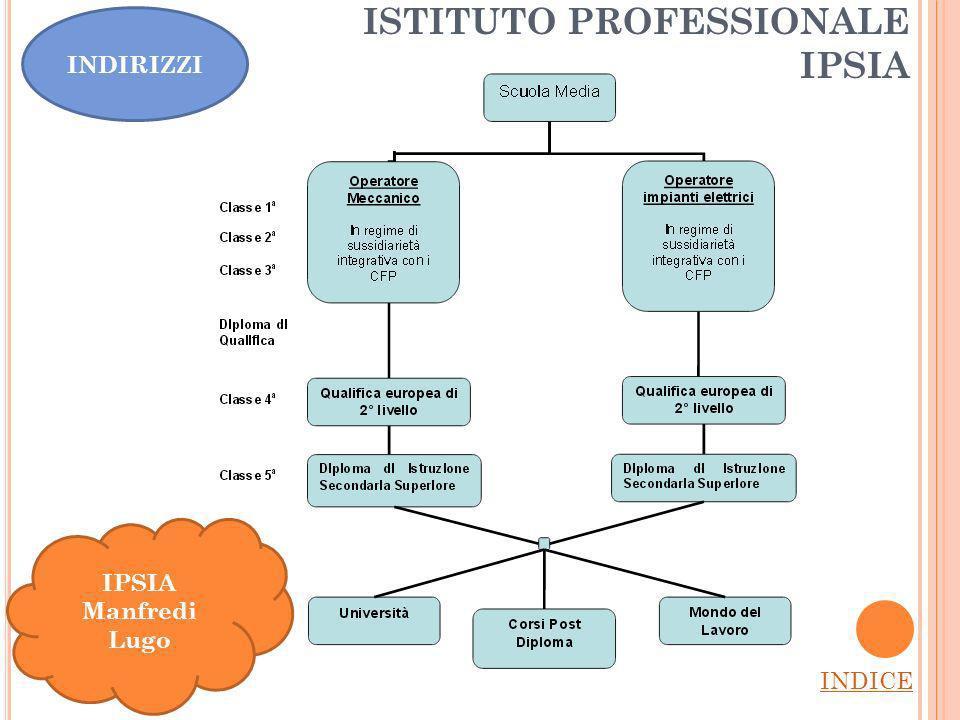 ISTITUTO PROFESSIONALE IPSIA INDICE IPSIA Manfredi Lugo INDIRIZZI