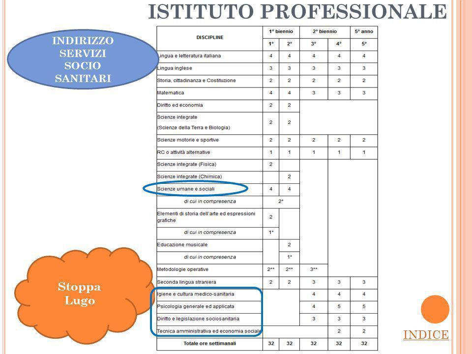 ISTITUTO PROFESSIONALE INDICE Stoppa Lugo INDIRIZZO SERVIZI SOCIO SANITARI