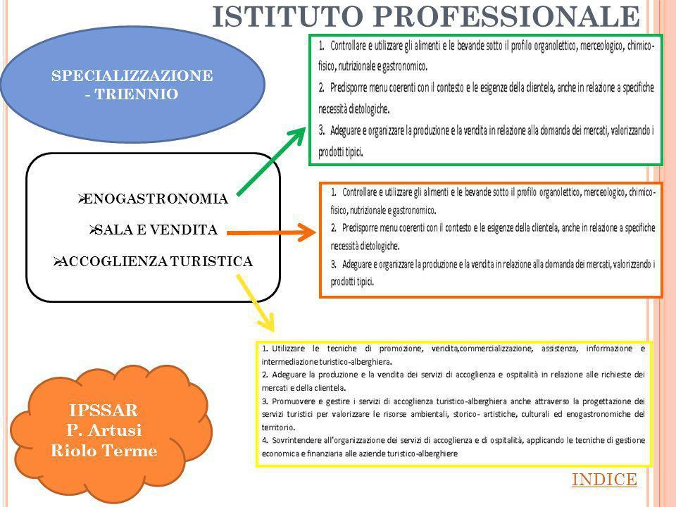 ISTITUTO PROFESSIONALE INDICE IPSSAR P.