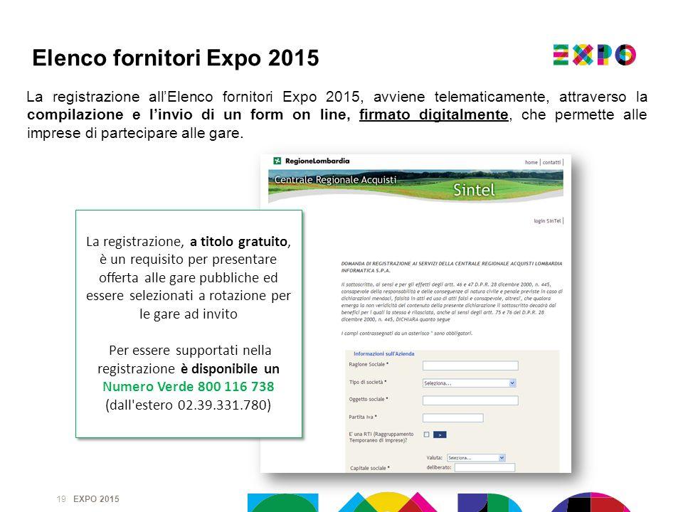 EXPO 2015 La registrazione allElenco fornitori Expo 2015, avviene telematicamente, attraverso la compilazione e linvio di un form on line, firmato dig