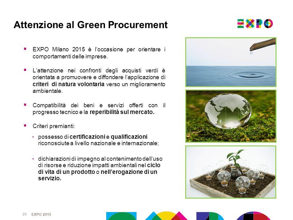 EXPO 2015 EXPO Milano 2015 è loccasione per orientare i comportamenti delle imprese. Lattenzione nei confronti degli acquisti verdi è orientata a prom