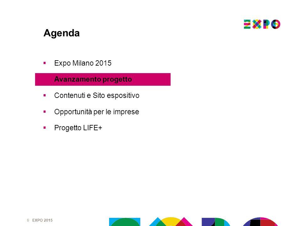EXPO 2015 6 Agenda Expo Milano 2015 Avanzamento progetto Contenuti e Sito espositivo Opportunità per le imprese Progetto LIFE+