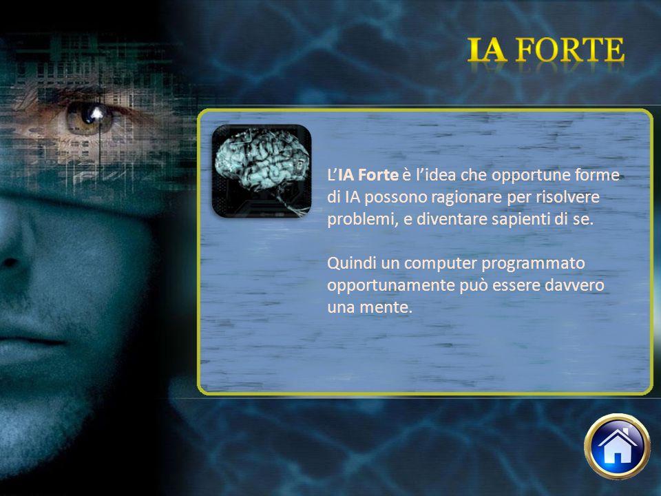 LIA Forte è lidea che opportune forme di IA possono ragionare per risolvere problemi, e diventare sapienti di se. Quindi un computer programmato oppor