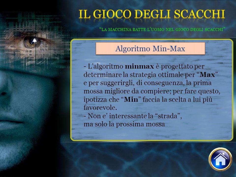 - Lalgoritmo minmax è progettato per determinare la strategia ottimale per Max e per suggerirgli, di conseguenza, la prima mossa migliore da compiere;