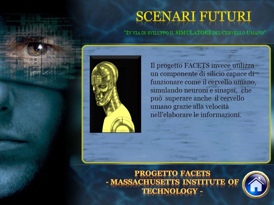 I N VIA DI SVILUPPO IL SIMULATORE DEL C ERVELLO U MANO Il progetto FACETS invece utilizza un componente di silicio capace di funzionare come il cervel