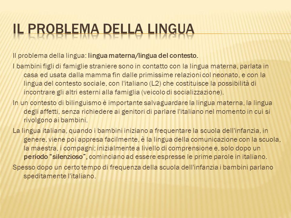 Il problema della lingua: lingua materna/lingua del contesto.