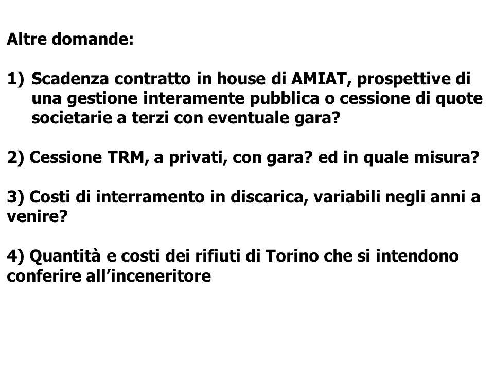 Altre domande: 1)Scadenza contratto in house di AMIAT, prospettive di una gestione interamente pubblica o cessione di quote societarie a terzi con eventuale gara.