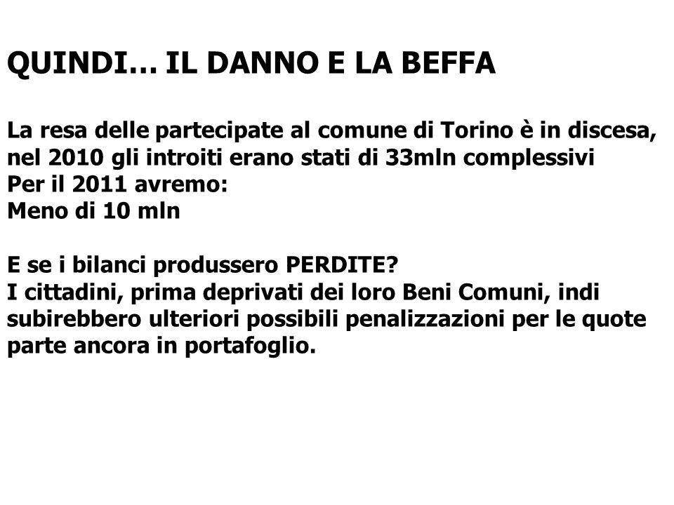 QUINDI… IL DANNO E LA BEFFA La resa delle partecipate al comune di Torino è in discesa, nel 2010 gli introiti erano stati di 33mln complessivi Per il 2011 avremo: Meno di 10 mln E se i bilanci produssero PERDITE.