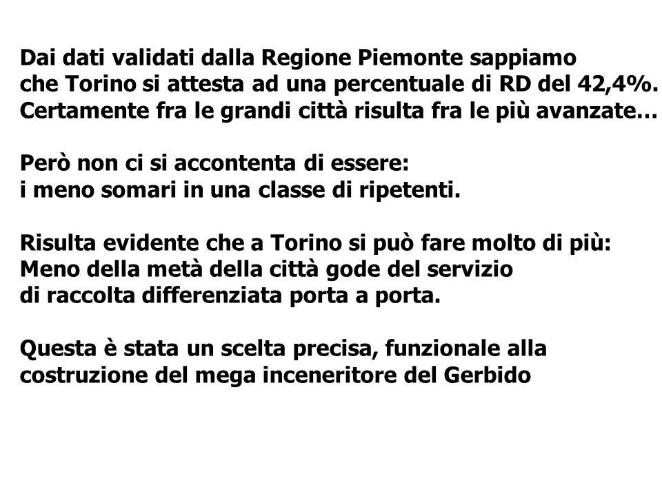 Dai dati validati dalla Regione Piemonte sappiamo che Torino si attesta ad una percentuale di RD del 42,4%. Certamente fra le grandi città risulta fra