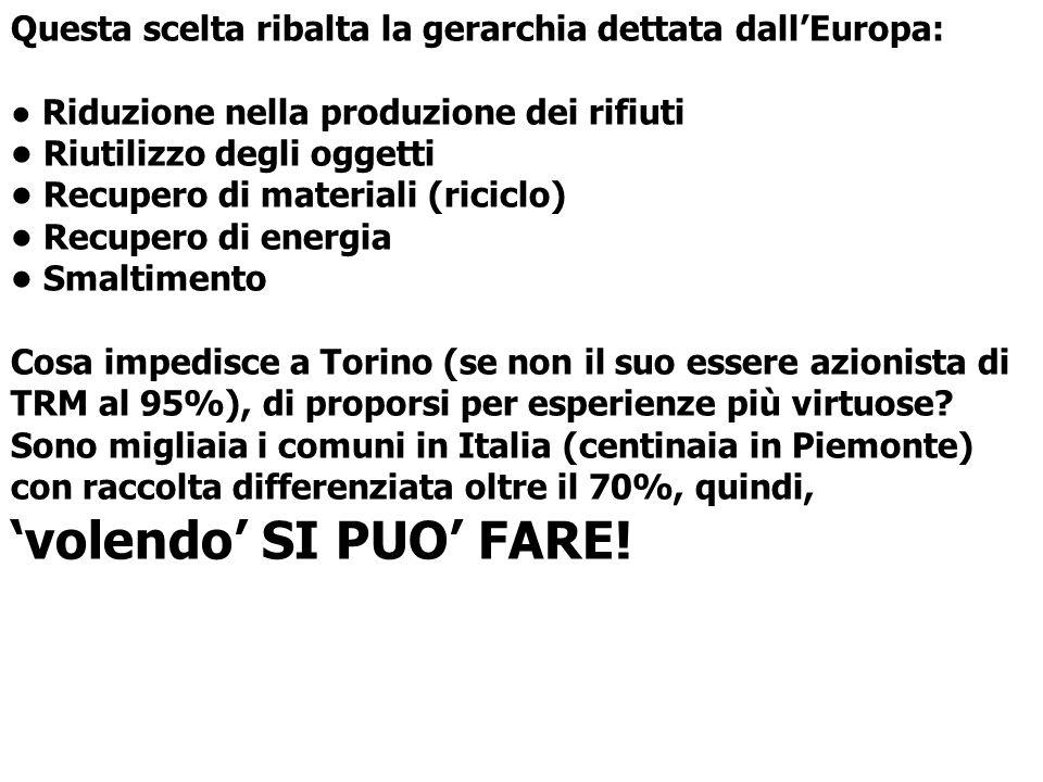 Torino, città e provincia intendono continuare a perseguire la strategia della distruzione, pur avendo il Parlamento Europeo approvato, a stragrande maggioranza, il «settimo programma» che recita: NO ALLINCENERIMENTO DEI RIFIUTI CHE POSSONO ESSERE RICICLATI O COMPOSTATI (CIRCA 80%)