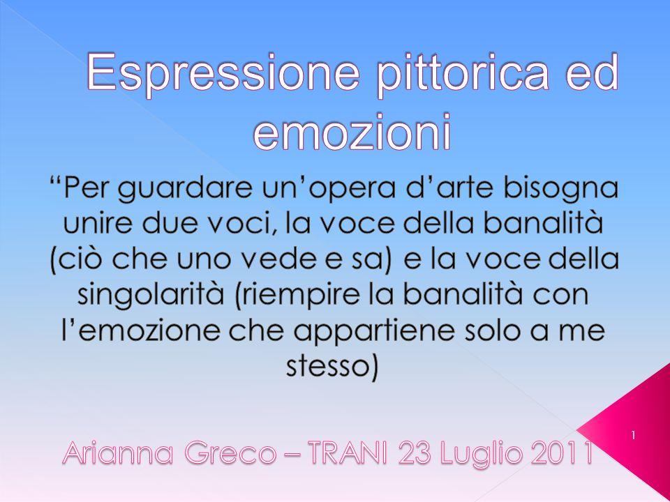 Greco Arianna - Trani 23 Luglio 2011 52 Per guardare unopera darte bisogna unire due voci, la voce della banalità (ciò che uno vede e sa) e la voce della singolarità (riempire la banalità con lemozione che appartiene solo a me stesso)