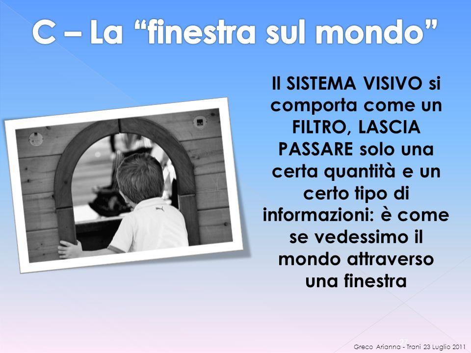 Greco Arianna - Trani 23 Luglio 2011 27 Il SISTEMA VISIVO si comporta come un FILTRO, LASCIA PASSARE solo una certa quantità e un certo tipo di informazioni: è come se vedessimo il mondo attraverso una finestra