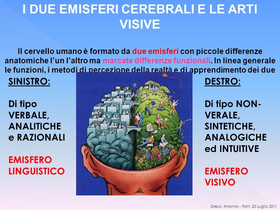 Greco Arianna - Trani 23 Luglio 2011 35 I DUE EMISFERI CEREBRALI E LE ARTI VISIVE Il cervello umano è formato da due emisferi con piccole differenze anatomiche lun laltro ma marcate differenze funzionali.